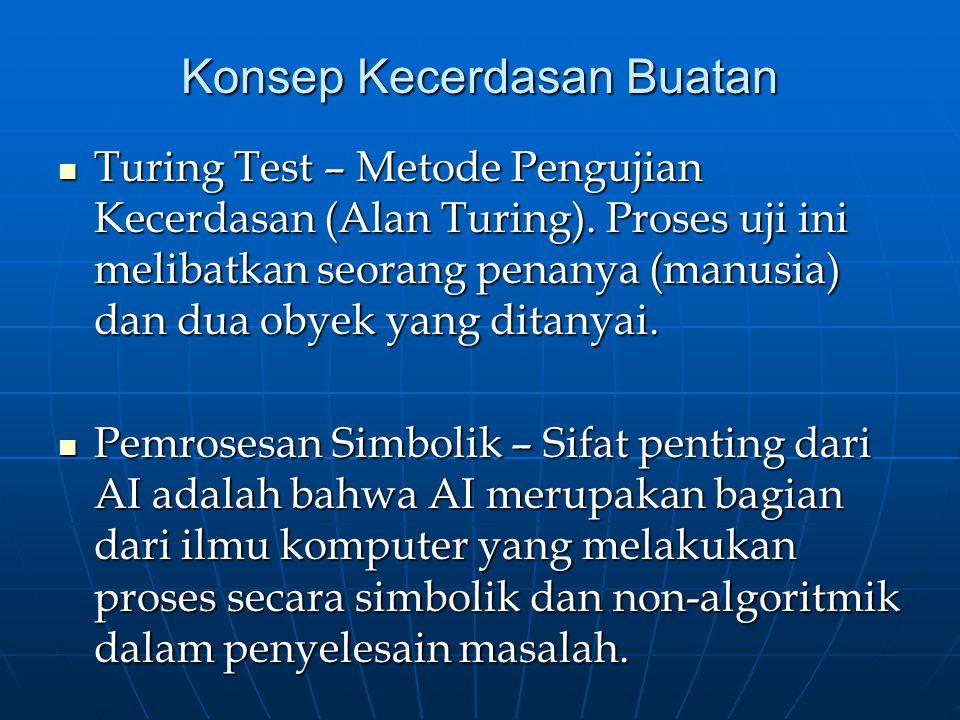 Konsep Kecerdasan Buatan Turing Test – Metode Pengujian Kecerdasan (Alan Turing). Proses uji ini melibatkan seorang penanya (manusia) dan dua obyek ya