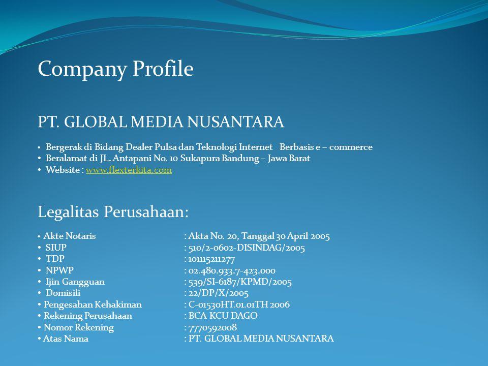 Company Profile PT. GLOBAL MEDIA NUSANTARA Bergerak di Bidang Dealer Pulsa dan Teknologi Internet Berbasis e – commerce Beralamat di JL. Antapani No.