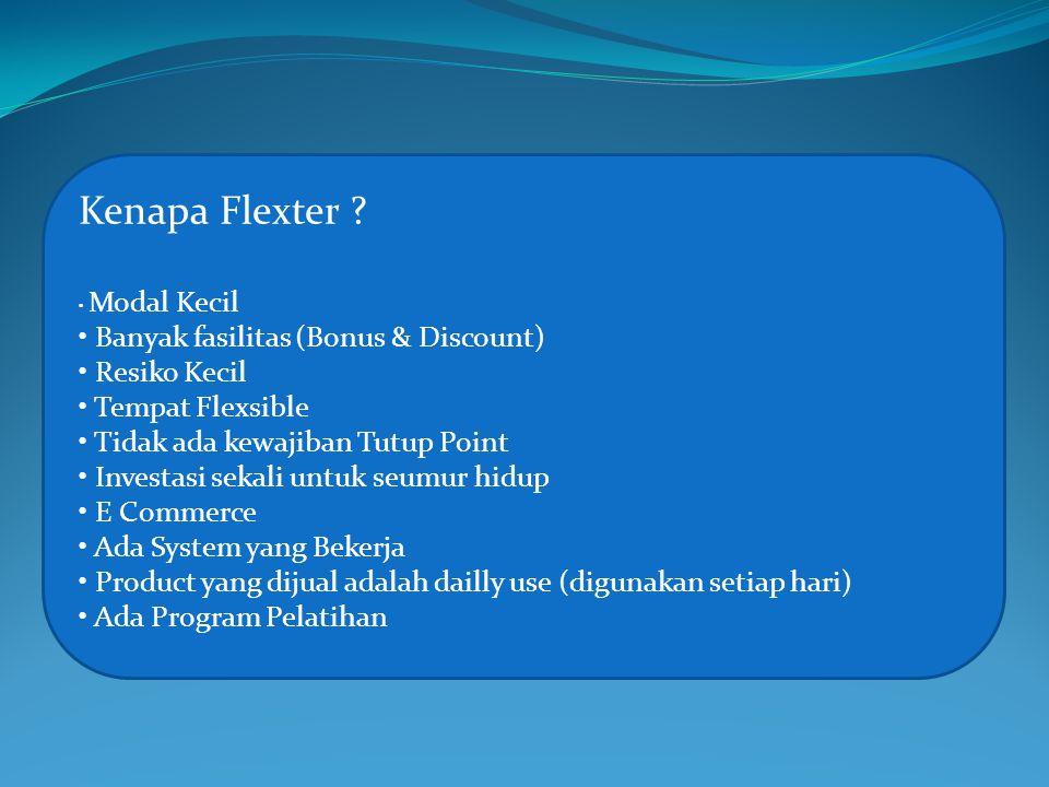 Kenapa Flexter ? Modal Kecil Banyak fasilitas (Bonus & Discount) Resiko Kecil Tempat Flexsible Tidak ada kewajiban Tutup Point Investasi sekali untuk