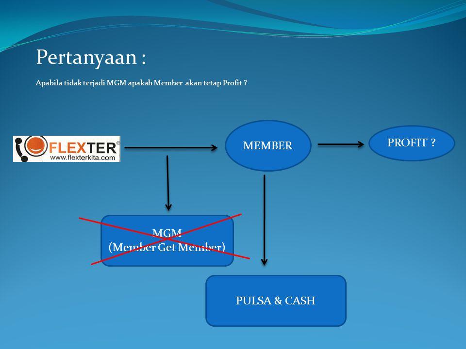Pertanyaan : Apabila tidak terjadi MGM apakah Member akan tetap Profit ? MEMBER PULSA & CASH MGM (Member Get Member) PROFIT ?