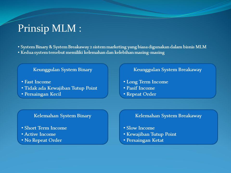 Prinsip MLM : System Binary & System Breakaway 2 sistem marketing yang biasa digunakan dalam bisnis MLM Kedua system tersebut memiliki kelemahan dan k