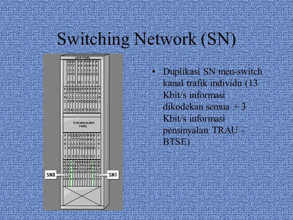 Switching Network (SN) Duplikasi SN men-switch kanal trafik individu (13 Kbit/s informasi dikodekan semua + 3 Kbit/s informasi pensinyalan TRAU - BTSE)
