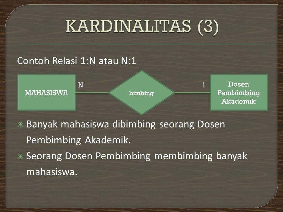 Contoh Relasi 1:N atau N:1  Banyak mahasiswa dibimbing seorang Dosen Pembimbing Akademik.