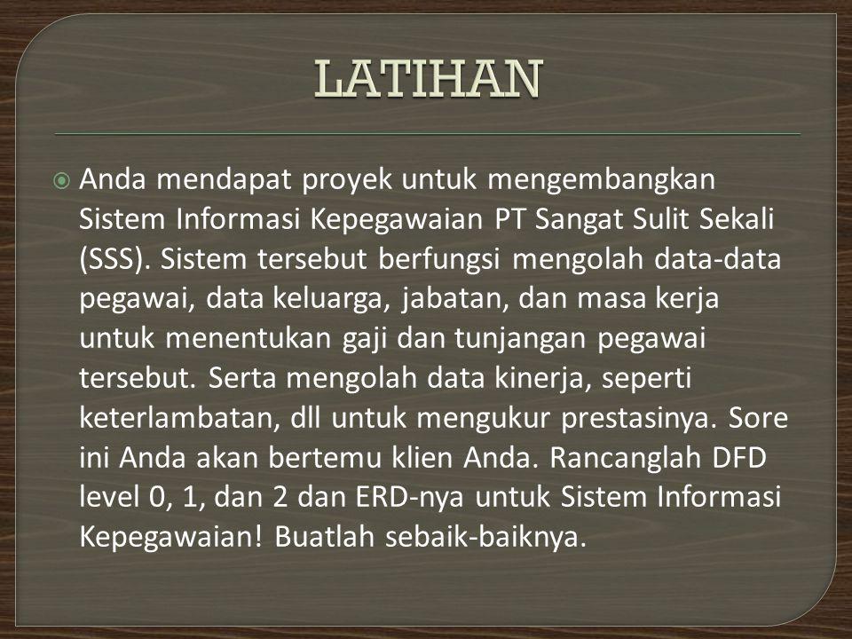  Anda mendapat proyek untuk mengembangkan Sistem Informasi Kepegawaian PT Sangat Sulit Sekali (SSS). Sistem tersebut berfungsi mengolah data-data peg