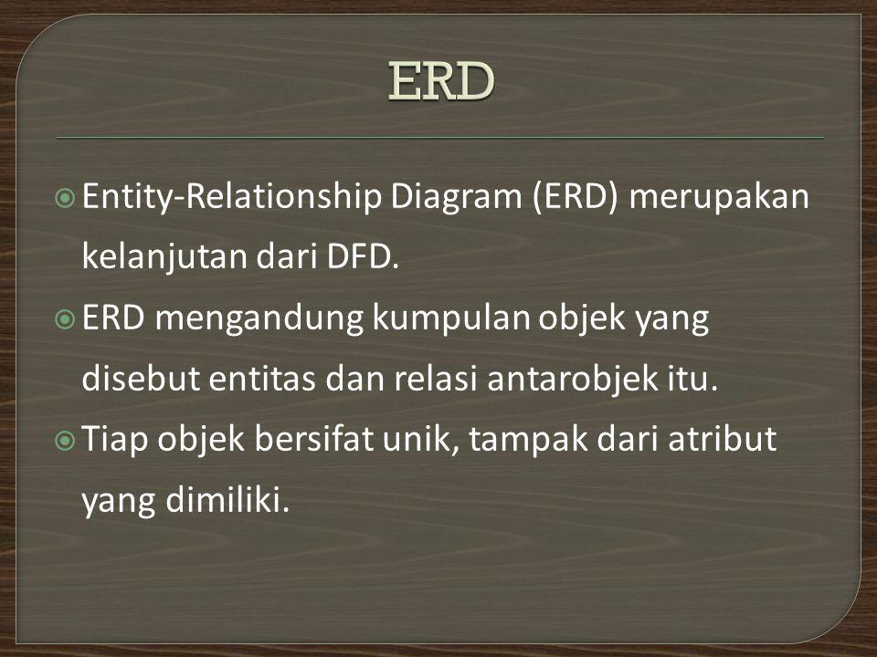  Entity-Relationship Diagram (ERD) merupakan kelanjutan dari DFD.  ERD mengandung kumpulan objek yang disebut entitas dan relasi antarobjek itu.  T