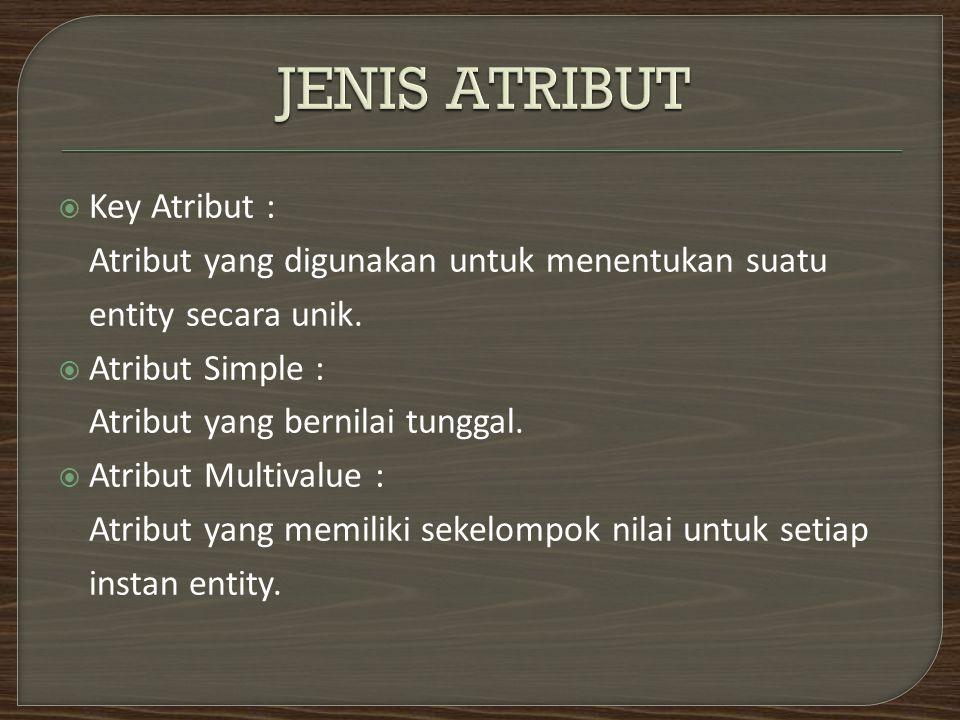  Key Atribut : Atribut yang digunakan untuk menentukan suatu entity secara unik.  Atribut Simple : Atribut yang bernilai tunggal.  Atribut Multival