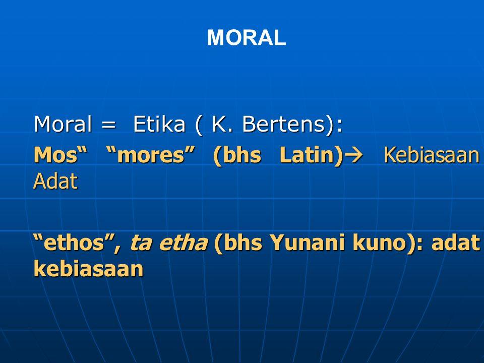 MORAL Moral = Etika ( K.