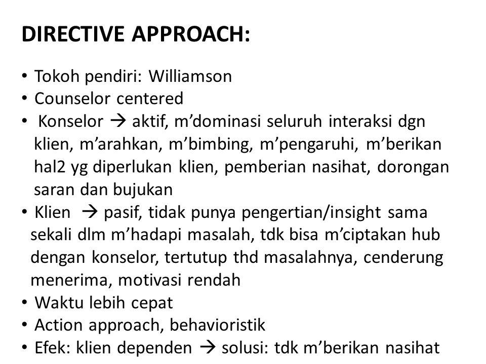 DIRECTIVE APPROACH: Tokoh pendiri: Williamson Counselor centered Konselor  aktif, m'dominasi seluruh interaksi dgn klien, m'arahkan, m'bimbing, m'pengaruhi, m'berikan hal2 yg diperlukan klien, pemberian nasihat, dorongan saran dan bujukan Klien  pasif, tidak punya pengertian/insight sama sekali dlm m'hadapi masalah, tdk bisa m'ciptakan hub dengan konselor, tertutup thd masalahnya, cenderung menerima, motivasi rendah Waktu lebih cepat Action approach, behavioristik Efek: klien dependen  solusi: tdk m'berikan nasihat