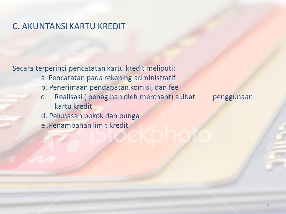TANGGALREKENINGDEBIT(RP)KREDIT (RP) 5/3/2012- RAR.Fasilitas kredit yang diberikan dan belum digunakan10.000.000,00 CONTOH Tanggal 5 maret 2012 bank mitra niaga semarang melakukan otorisasi penerbitan kartu kredit untuk Sdr.Karina dengan limit Rp.10.000.000,00.