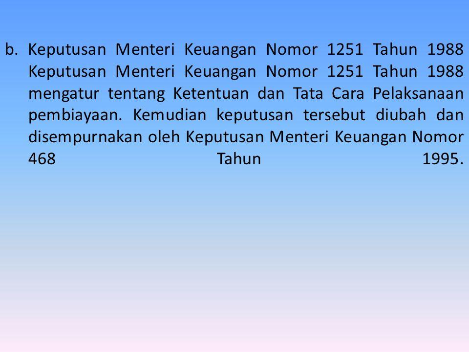 b. Keputusan Menteri Keuangan Nomor 1251 Tahun 1988 Keputusan Menteri Keuangan Nomor 1251 Tahun 1988 mengatur tentang Ketentuan dan Tata Cara Pelaksan