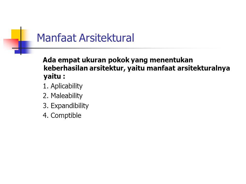 Manfaat Arsitektural Ada empat ukuran pokok yang menentukan keberhasilan arsitektur, yaitu manfaat arsitekturalnya yaitu : 1. Aplicability 2. Maleabil