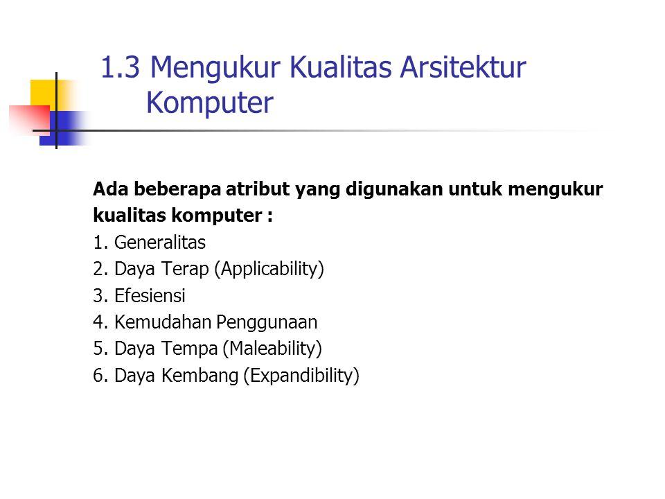 1.3 Mengukur Kualitas Arsitektur Komputer Ada beberapa atribut yang digunakan untuk mengukur kualitas komputer : 1. Generalitas 2. Daya Terap (Applica
