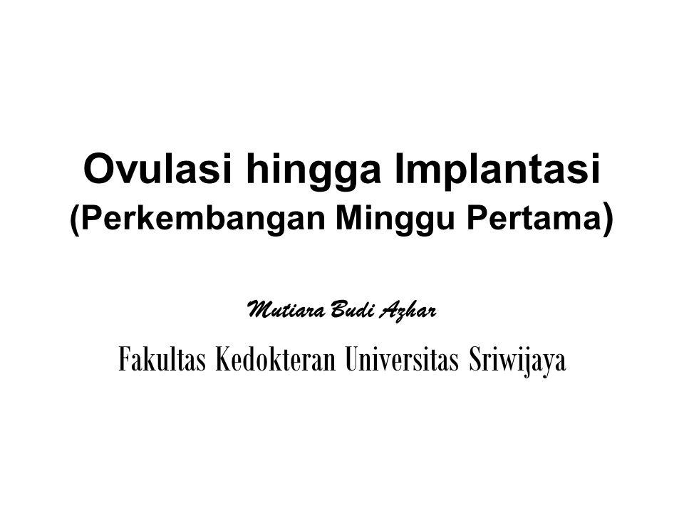 Ovulasi hingga Implantasi (Perkembangan Minggu Pertama ) Mutiara Budi Azhar Fakultas Kedokteran Universitas Sriwijaya