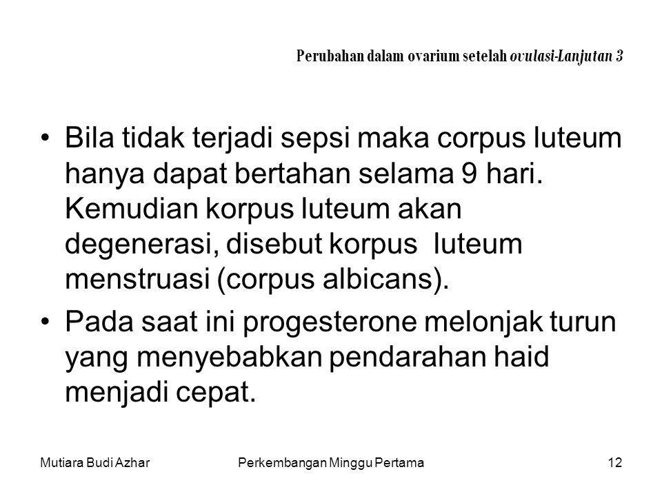 Mutiara Budi AzharPerkembangan Minggu Pertama12 Perubahan dalam ovarium setelah ovulasi-Lanjutan 3 Bila tidak terjadi sepsi maka corpus luteum hanya d