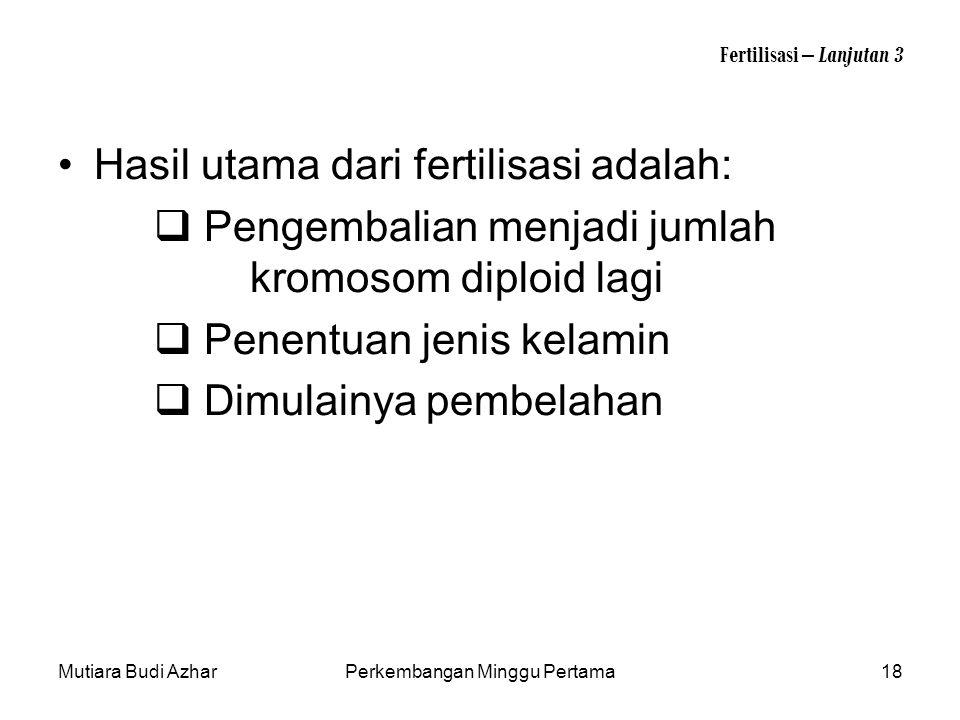 Mutiara Budi AzharPerkembangan Minggu Pertama18 Fertilisasi – Lanjutan 3 Hasil utama dari fertilisasi adalah:  Pengembalian menjadi jumlah kromosom d
