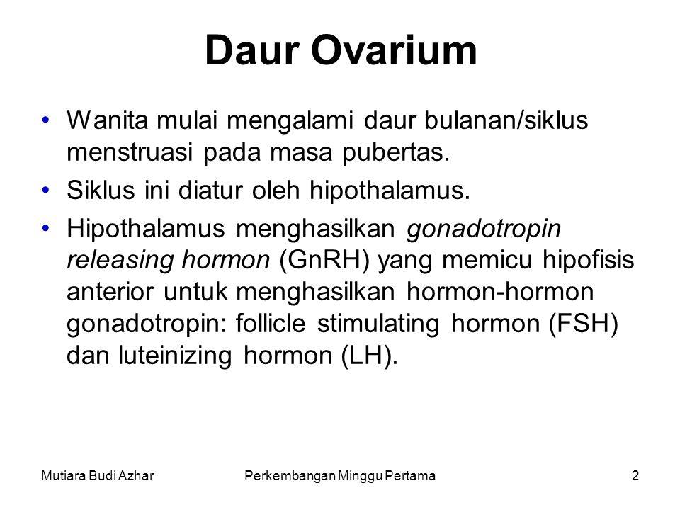 Mutiara Budi AzharPerkembangan Minggu Pertama13 Perjalanan oosit Sesaat sebelum ovulasi, fimbrae tuba fallopi (tuba uterina) mulai menutupi permukaaan ovarium dan tuba fallopi mulai berkontraksi secara ritmik.