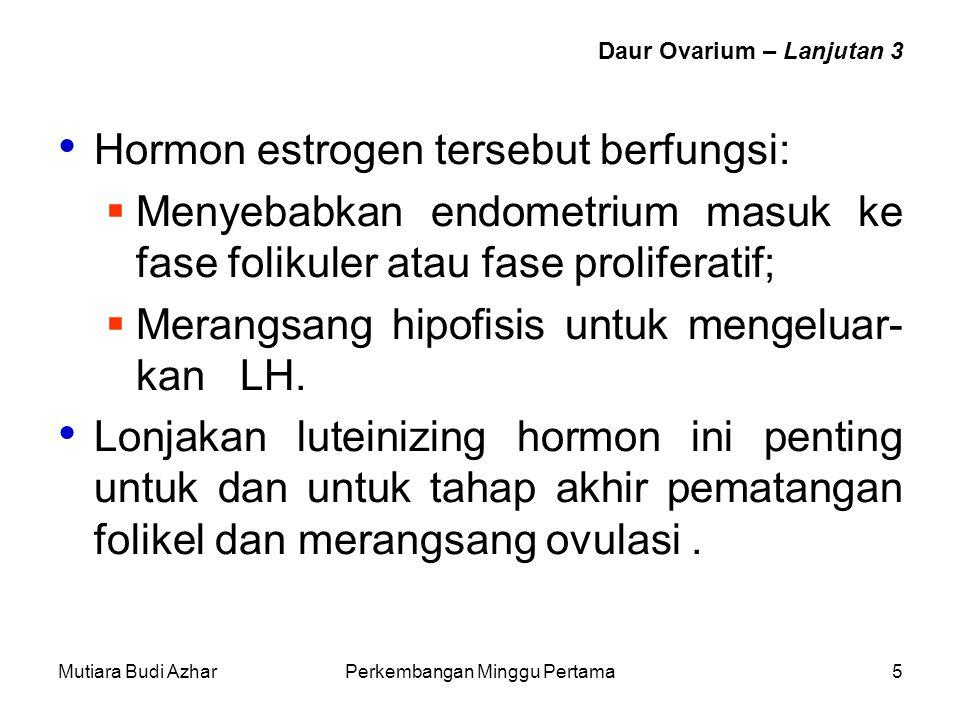 Mutiara Budi AzharPerkembangan Minggu Pertama5 Daur Ovarium – Lanjutan 3 Hormon estrogen tersebut berfungsi:  Menyebabkan endometrium masuk ke fase f