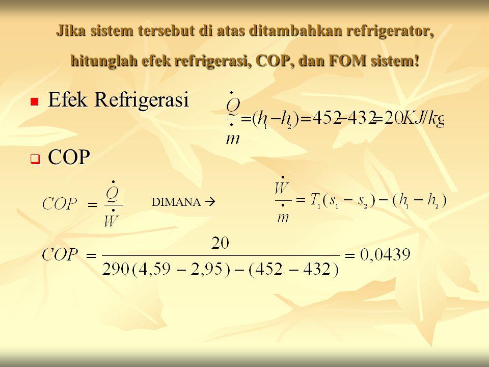 Jika sistem tersebut di atas ditambahkan refrigerator, hitunglah efek refrigerasi, COP, dan FOM sistem.