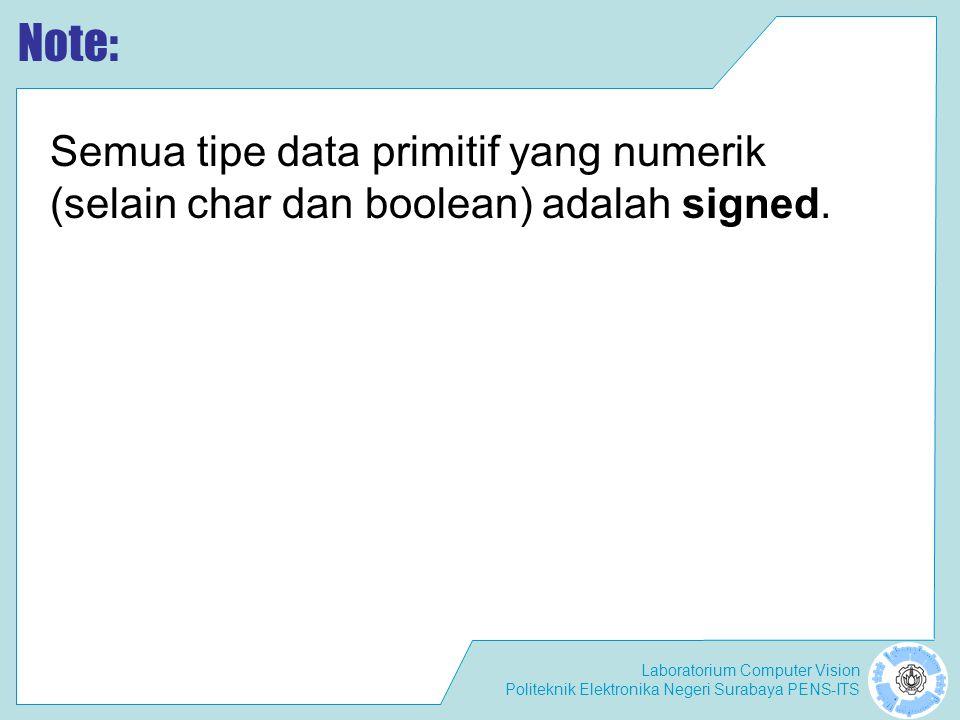 Laboratorium Computer Vision Politeknik Elektronika Negeri Surabaya PENS-ITS Note: Semua tipe data primitif yang numerik (selain char dan boolean) adalah signed.