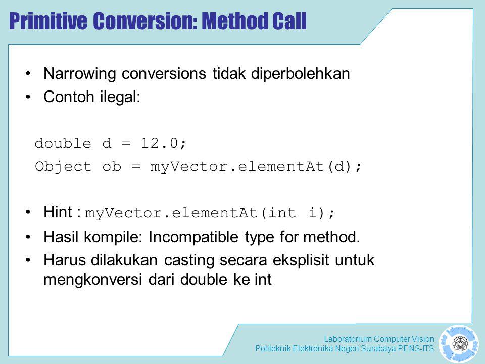Laboratorium Computer Vision Politeknik Elektronika Negeri Surabaya PENS-ITS Primitive Conversion: Method Call Narrowing conversions tidak diperbolehk