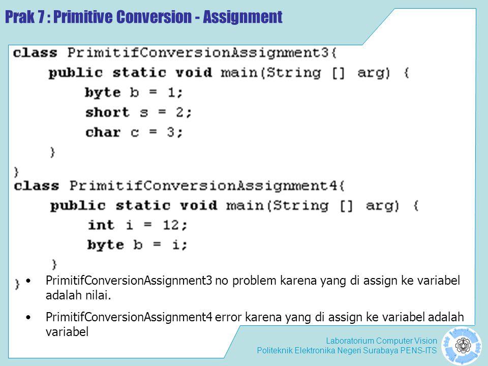 Laboratorium Computer Vision Politeknik Elektronika Negeri Surabaya PENS-ITS Prak 7 : Primitive Conversion - Assignment PrimitifConversionAssignment3 no problem karena yang di assign ke variabel adalah nilai.