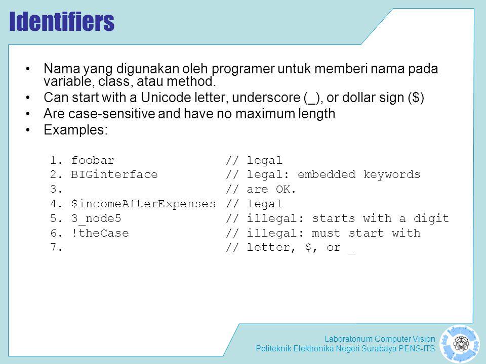 Laboratorium Computer Vision Politeknik Elektronika Negeri Surabaya PENS-ITS Identifiers Nama yang digunakan oleh programer untuk memberi nama pada variable, class, atau method.