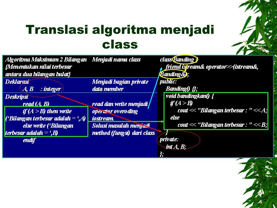 Translasi algoritma menjadi class
