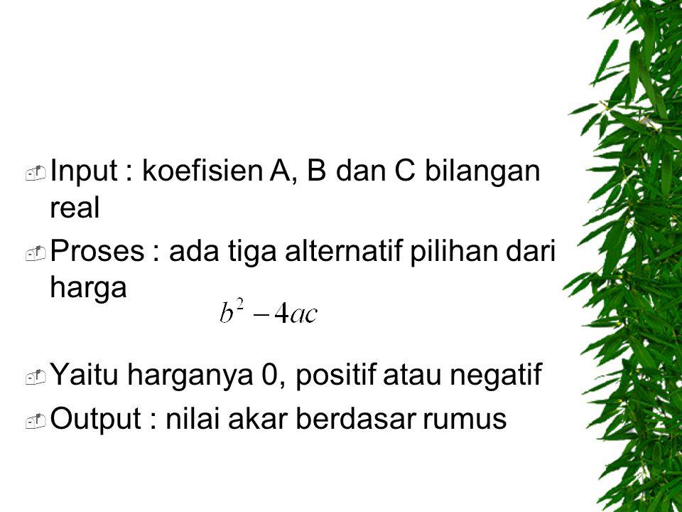  Input : koefisien A, B dan C bilangan real  Proses : ada tiga alternatif pilihan dari harga  Yaitu harganya 0, positif atau negatif  Output : nil