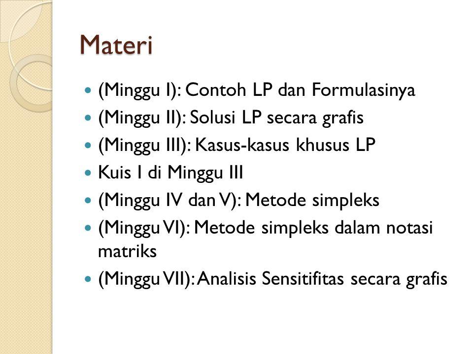 Materi (Minggu I): Contoh LP dan Formulasinya (Minggu II): Solusi LP secara grafis (Minggu III): Kasus-kasus khusus LP Kuis I di Minggu III (Minggu IV