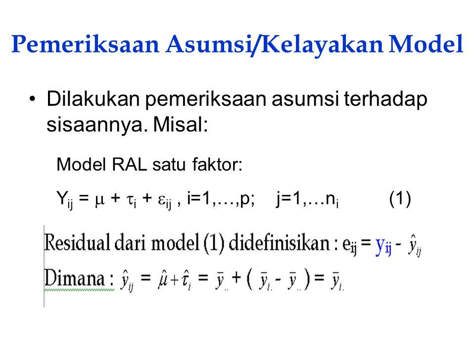Pemeriksaan Asumsi/Kelayakan Model Dilakukan pemeriksaan asumsi terhadap sisaannya. Misal: Model RAL satu faktor: Y ij =  +  i +  ij, i=1,…,p; j=1,
