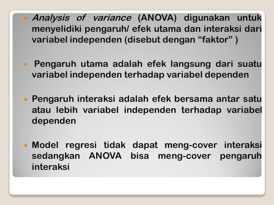 Analysis of variance (ANOVA) digunakan untuk menyelidiki pengaruh/ efek utama dan interaksi dari variabel independen (disebut dengan faktor ) Pengaruh utama adalah efek langsung dari suatu variabel independen terhadap variabel dependen Pengaruh interaksi adalah efek bersama antar satu atau lebih variabel independen terhadap variabel dependen Model regresi tidak dapat meng-cover interaksi sedangkan ANOVA bisa meng-cover pengaruh interaksi