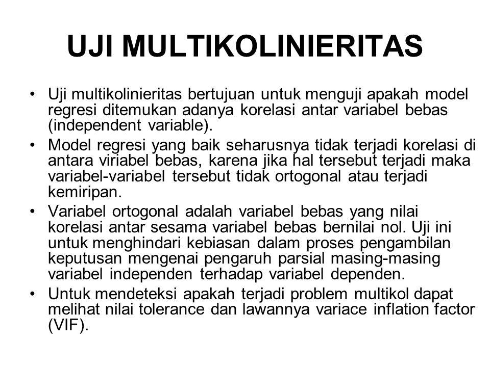 UJI MULTIKOLINIERITAS Uji multikolinieritas bertujuan untuk menguji apakah model regresi ditemukan adanya korelasi antar variabel bebas (independent variable).