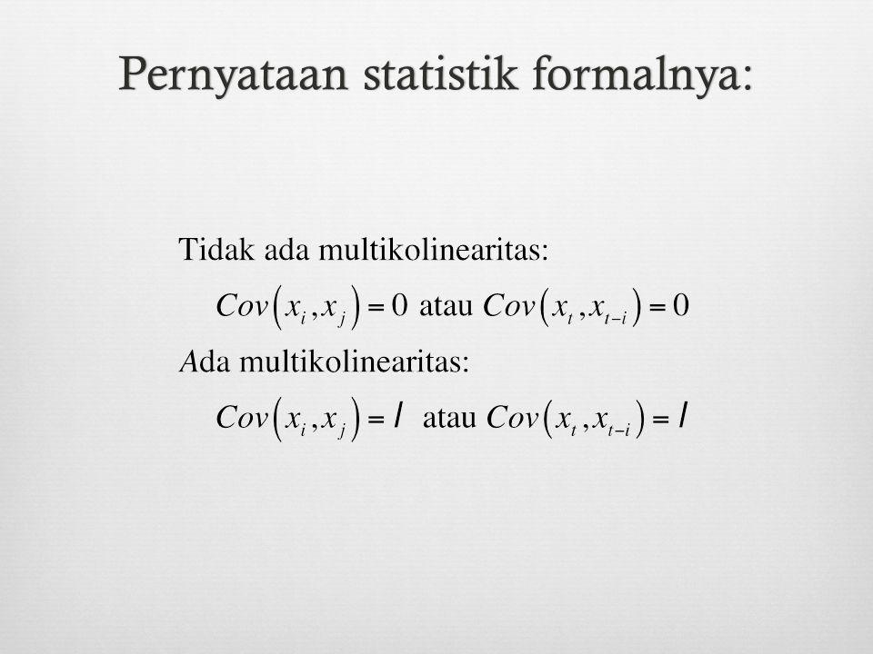 Cochrane-Orcutt Two-step procedure (CORC) (1) RegressY t =  1 +  2 X t + u t (2) Regressu t =  u t-1 + v t (3) Gunakan  untuk mentranformasi variabel: Y t * = Y t -  Y t-1 Y t =  1 +  2 X t + u t X t * = X t -  X t-1  Y t-1 =  1  +  2  X t-1 +  u t-1 (Y t -  Y t-1 ) =  1 (1-  ) +  2 (X t -  X t-1 ) + (u t -  u t-1 ) (4) RegressY t * =  1 * +  2 * X t * + u t * (5) Kalau berdasarkan BG test masih ada otokorelasif, ulangi lagi langkahnya dengan menggunakan u t * ^ ^ ^ Generalized Least Squares (GLS) method ^ ^ ^ ^ ^ ^ ^ ^ ^ ^