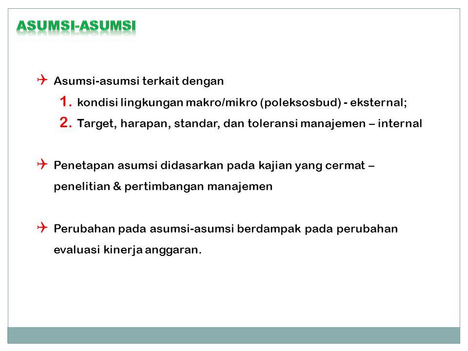  Asumsi-asumsi terkait dengan 1. kondisi lingkungan makro/mikro (poleksosbud) - eksternal; 2.