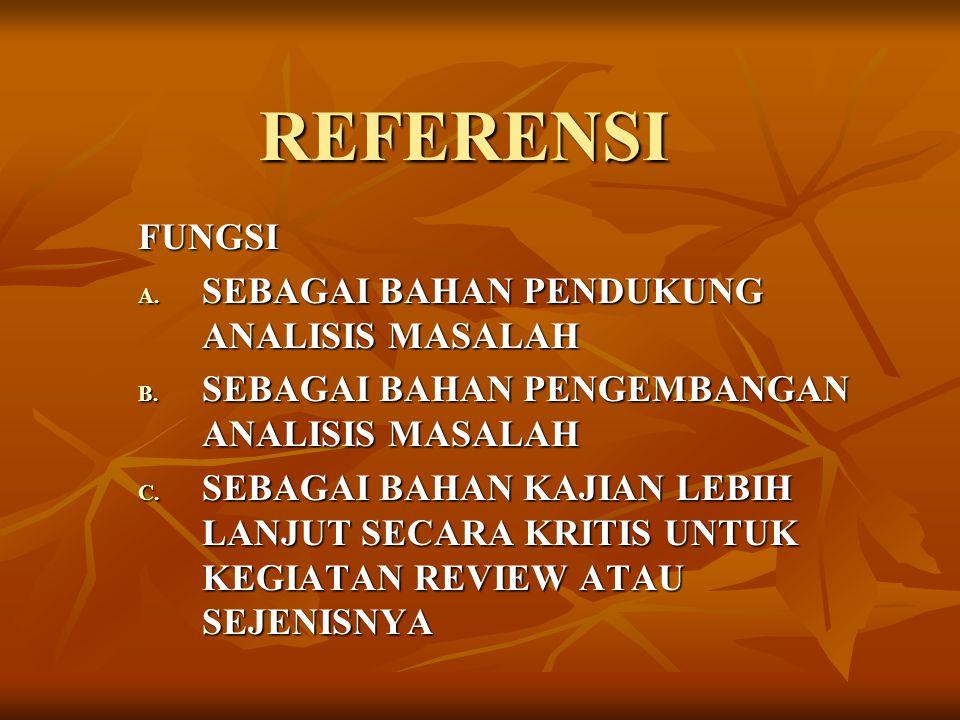 REFERENSI FUNGSI A.SEBAGAI BAHAN PENDUKUNG ANALISIS MASALAH B.