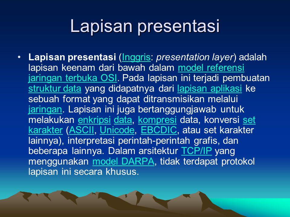 Lapisan presentasi Lapisan presentasi (Inggris: presentation layer) adalah lapisan keenam dari bawah dalam model referensi jaringan terbuka OSI. Pada