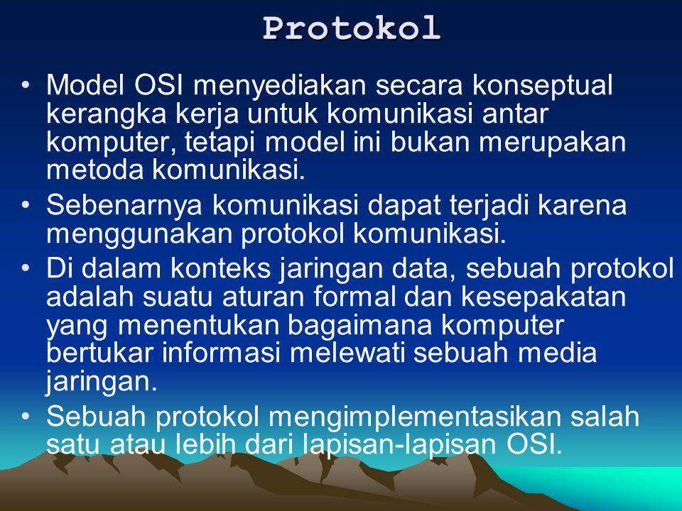 Protokol Model OSI menyediakan secara konseptual kerangka kerja untuk komunikasi antar komputer, tetapi model ini bukan merupakan metoda komunikasi. S