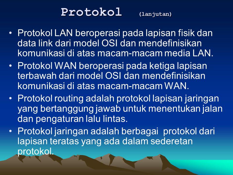 Protokol LAN beroperasi pada lapisan fisik dan data link dari model OSI dan mendefinisikan komunikasi di atas macam-macam media LAN. Protokol WAN bero