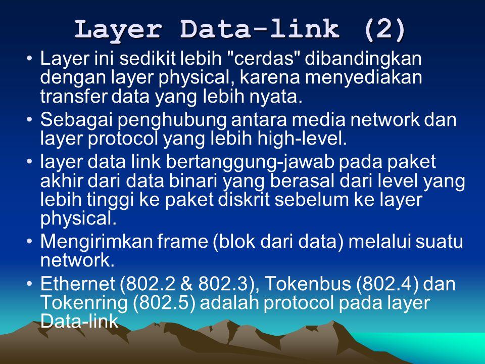 Layer Data-link (2) Layer ini sedikit lebih