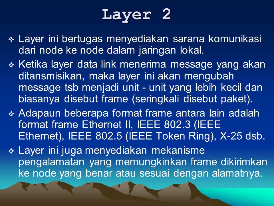Layer 2  Layer ini bertugas menyediakan sarana komunikasi dari node ke node dalam jaringan lokal.  Ketika layer data link menerima message yang akan