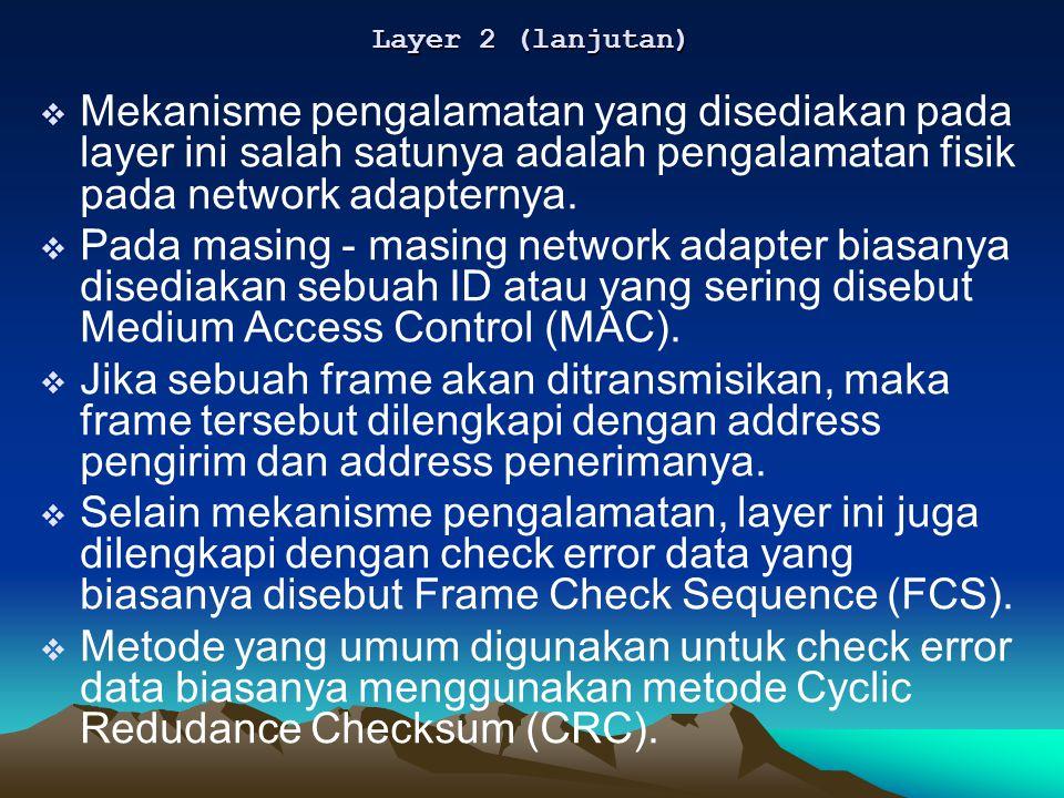  Mekanisme pengalamatan yang disediakan pada layer ini salah satunya adalah pengalamatan fisik pada network adapternya.  Pada masing - masing networ