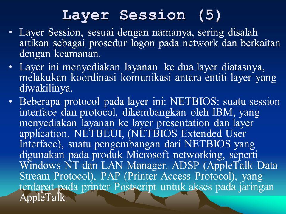 Layer Session (5) Layer Session, sesuai dengan namanya, sering disalah artikan sebagai prosedur logon pada network dan berkaitan dengan keamanan. Laye