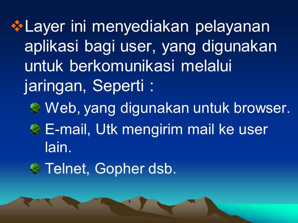  Layer ini menyediakan pelayanan aplikasi bagi user, yang digunakan untuk berkomunikasi melalui jaringan, Seperti : Web, yang digunakan untuk browser
