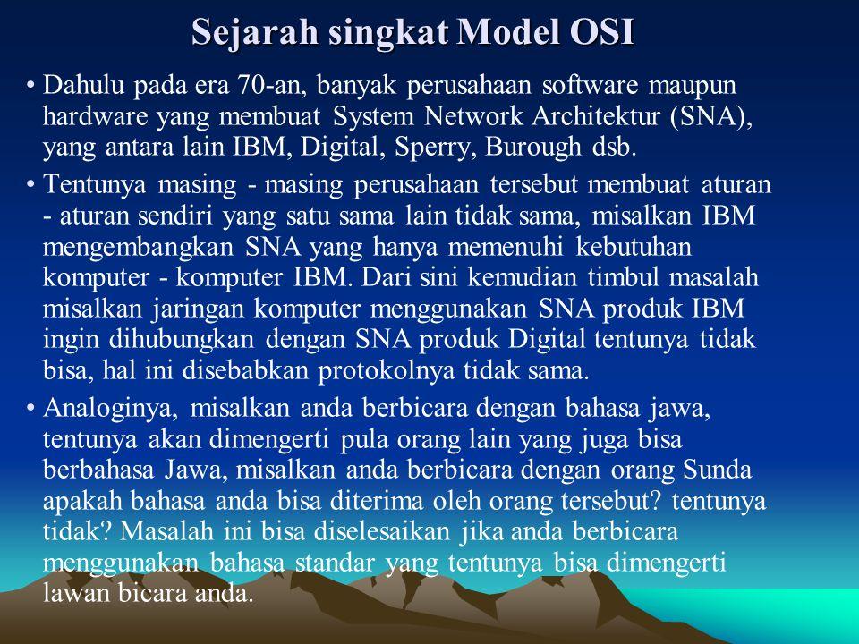 Sejarah singkat Model OSI Dahulu pada era 70-an, banyak perusahaan software maupun hardware yang membuat System Network Architektur (SNA), yang antara