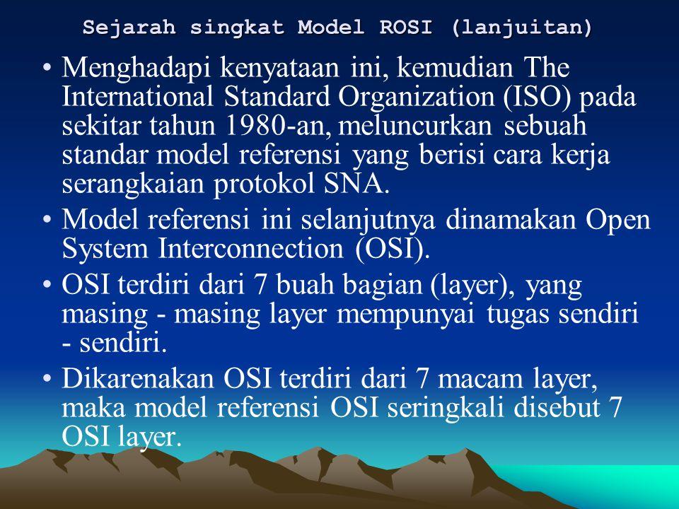 Sejarah singkat Model ROSI (lanjuitan) Menghadapi kenyataan ini, kemudian The International Standard Organization (ISO) pada sekitar tahun 1980-an, me