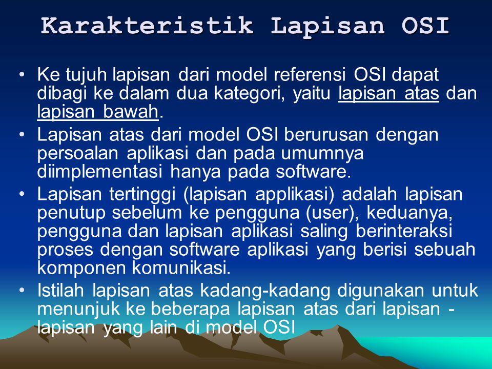 Karakteristik Lapisan OSI Ke tujuh lapisan dari model referensi OSI dapat dibagi ke dalam dua kategori, yaitu lapisan atas dan lapisan bawah. Lapisan