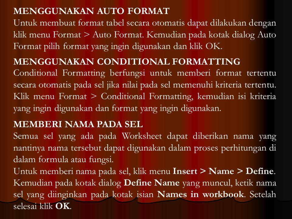 MENGGUNAKAN AUTO FORMAT Untuk membuat format tabel secara otomatis dapat dilakukan dengan klik menu Format > Auto Format. Kemudian pada kotak dialog A