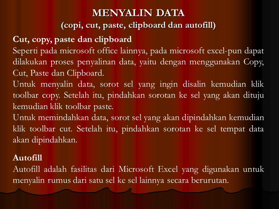 MENYALIN DATA (copi, cut, paste, clipboard dan autofill) Cut, copy, paste dan clipboard Seperti pada microsoft office lainnya, pada microsoft excel-pu