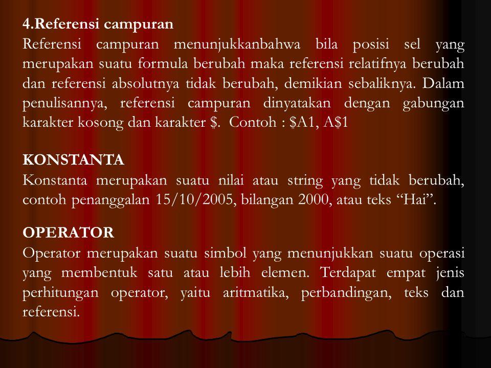Operator aritmatika OperatorKeteranganContoh +Pertambahan6+9 -Pengurangan6-9 *Perkalian6*9 /Pembagian6/9 %Persen69% ^Perpangkatan6^9