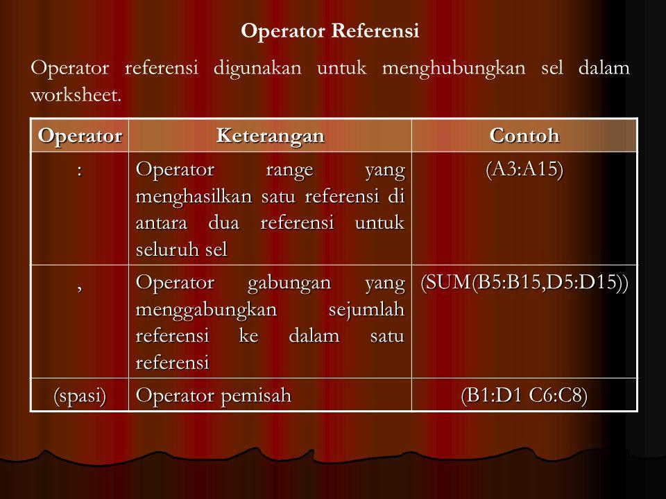 Operator Referensi OperatorKeteranganContoh : Operator range yang menghasilkan satu referensi di antara dua referensi untuk seluruh sel (A3:A15), Oper